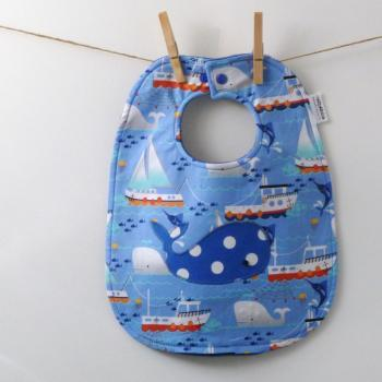  Whale Baby Bib with Snaps - Baby Boy Shower Gift
